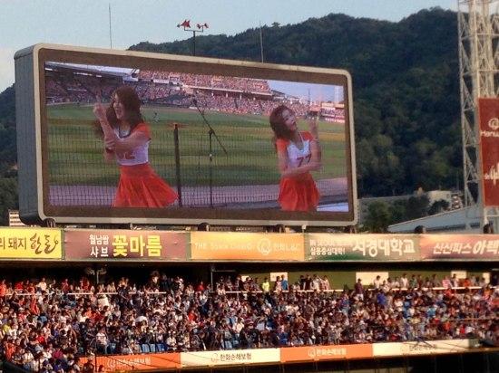 Korean baseball also has cheerleaders.... or K-Pop dancers, really.