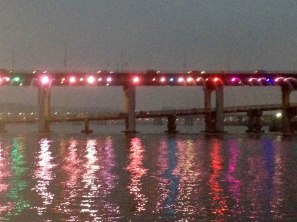 Banpo Bridge Rainbow Fountain - would have been cool if I had my Canon and a tripod.