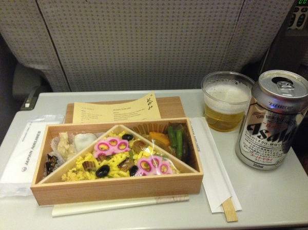 Our meal on the flight from Seoul to Tokyo - Japanese bento box style!