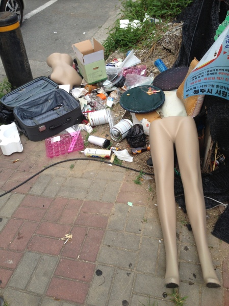 Just some trash on the sidewalk.