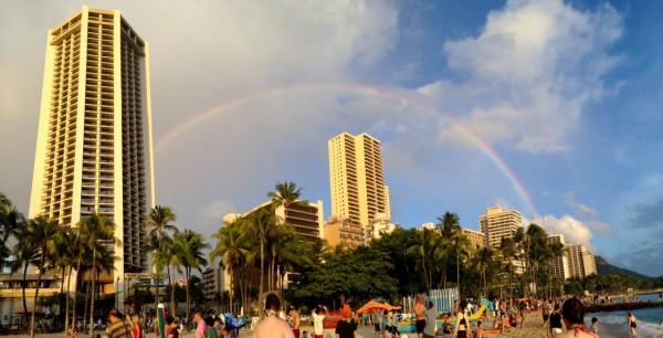 Rainbow as seen from Waikiki Beach