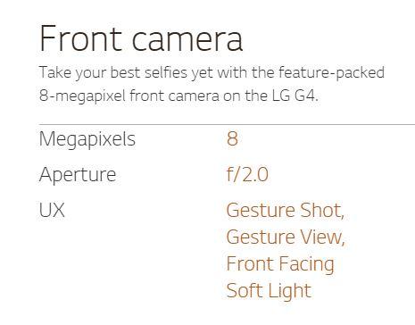 LG G4 Front camera specs