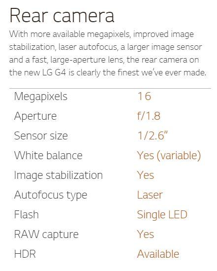 Lg G4 rear camera specs
