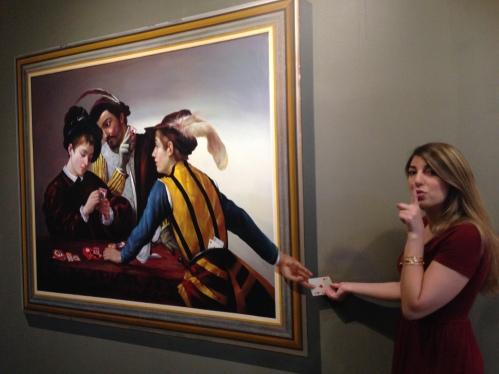 Shh! I'm helping Caravaggio's Cardsharp!
